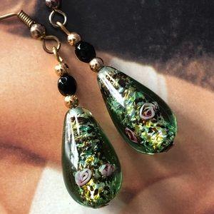 Vintage Glass Teardrop Earrings